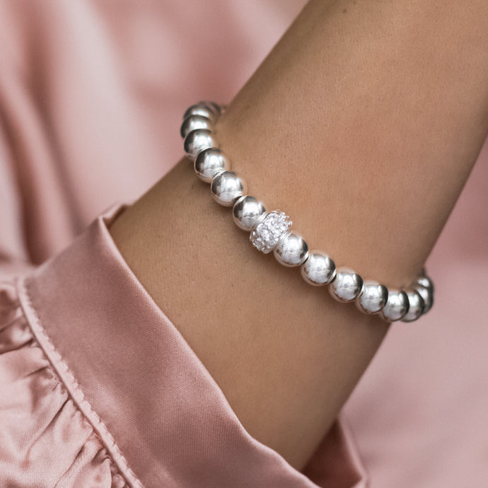 Chunky 925 sterling silver stacking bracelet with Cubic Zirconia stones
