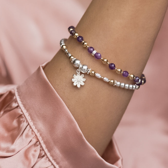 Luxury 925 sterling silver bracelet stack with Flower charm and Amethyst gemstone