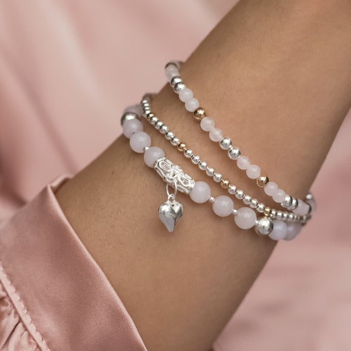 Luxury romantic 925 sterling silver bracelet stack with Rose Quartz gemstone