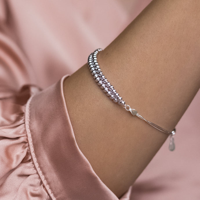 Elegant layered 925 sterling silver ball bracelet