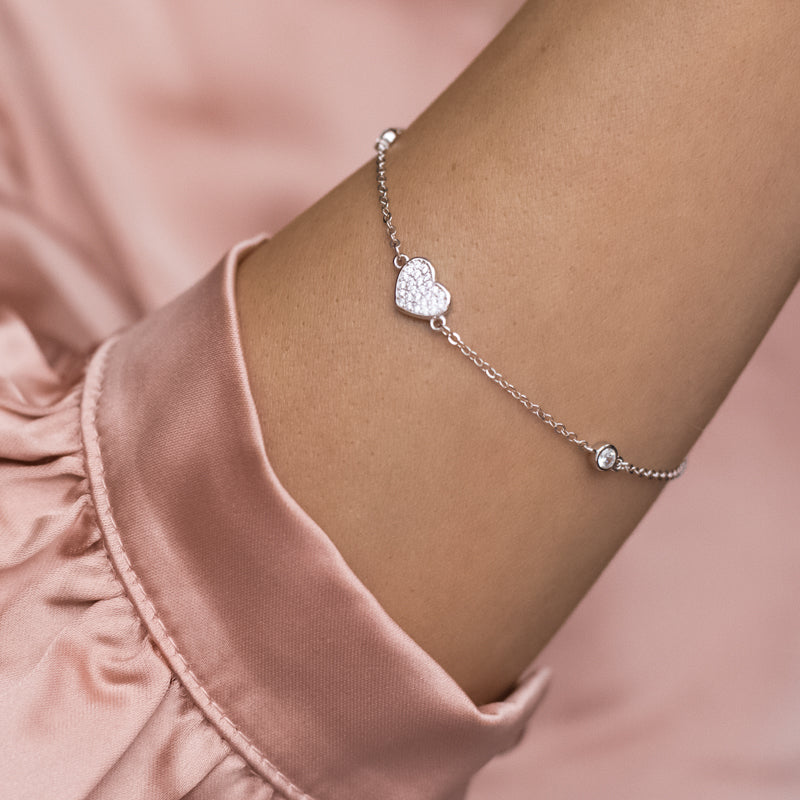 Adorable 925 Sterling silver sparkling heart bracelet decorated with Cubic Zirconia stones - Rhodium plated