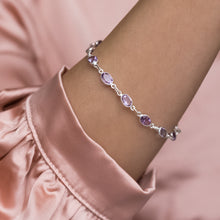 Load image into Gallery viewer, Luxury 925 sterling silver bracelet with genuine Amethyst gemstone