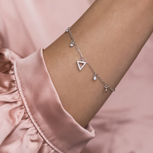 Elegant 925 sterling silver Triangle bracelet with Cubic Zirconia charms