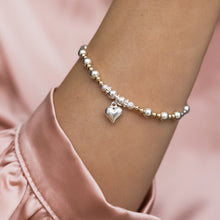 Load image into Gallery viewer, Luxury sterling silver and 14k gold filled beads stretch stacking bracelet with heart charm