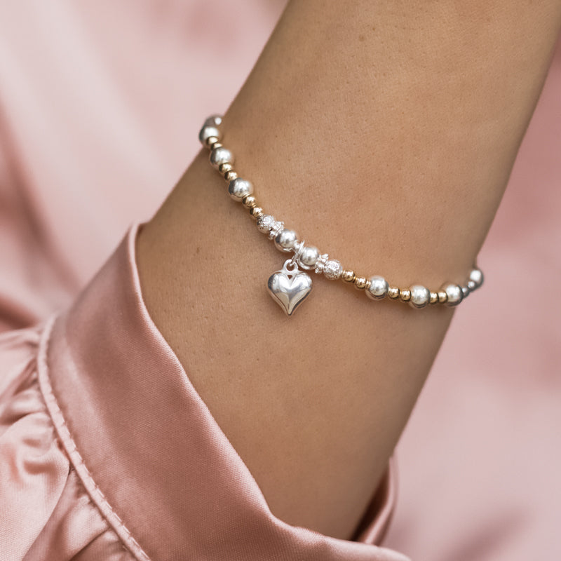 Luxury sterling silver and 14k gold filled beads stretch stacking bracelet with heart charm