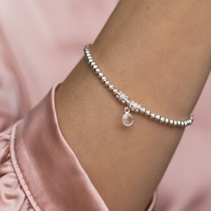 Elegantly romantic 925 sterling silver ball bracelet with Rose Quartz gemstone charm