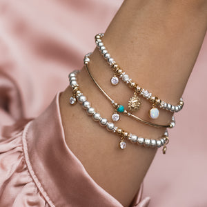 Luxury sterling silver bracelet stack set with 14k gold filled Sun, Opal gemstone and Cubic zircona charm