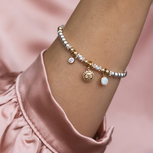 Luxury sterling silver bracelet with 14k gold filled Sun, Opal gemstone and Cubic zircona charm