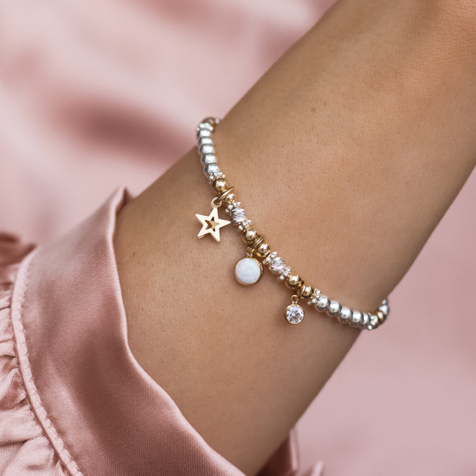 Luxury sterling silver stacking bracelet with 14k gold filled Star, Opal gemstone and Cubic zircona charm