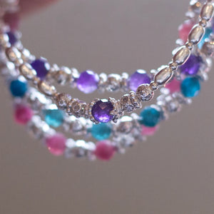 Gorgeous 925 sterling silver stretch stacking bracelet with AAA quality Amethyst gemstone