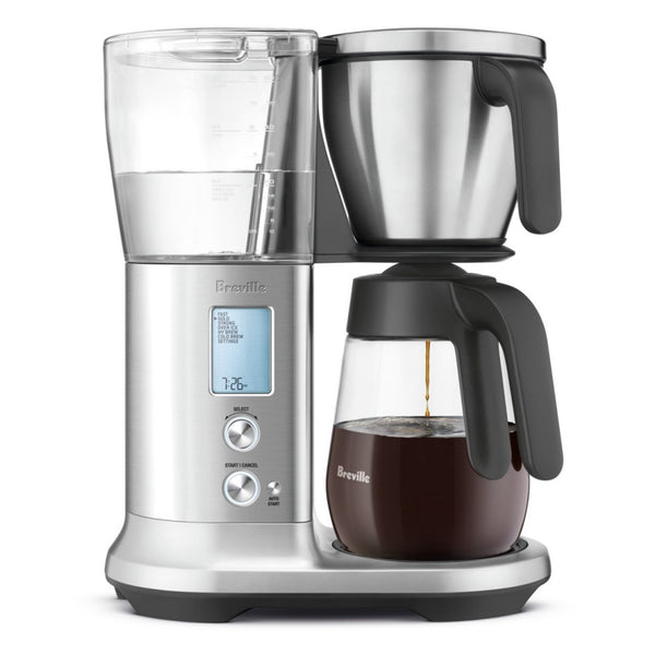 Breville Precision Brewer Coffee Machine with Glass Carafe full of brewing coffee