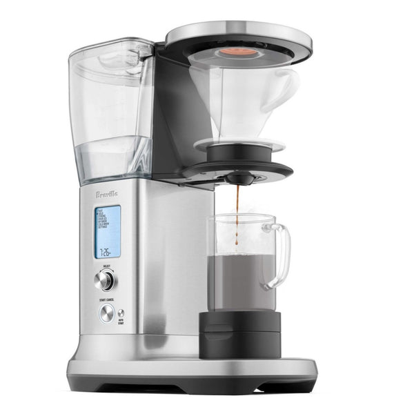 A digitally modified cutaway image of a Breville Precision Brewer Coffee Machine with Glass Carafe