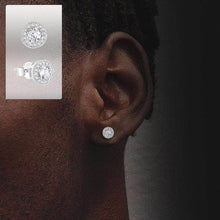 Load image into Gallery viewer, Sterling Silver Iced Button Earrings