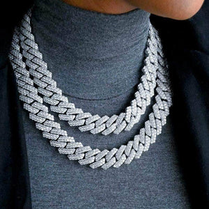 Prong 18mm White Gold Cuban link