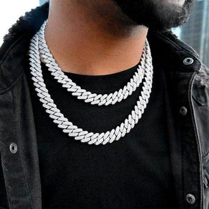 Prong Set 12mm White gold Diamond Cuban link