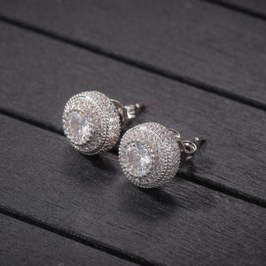 Sterling Silver Iced Button Earrings