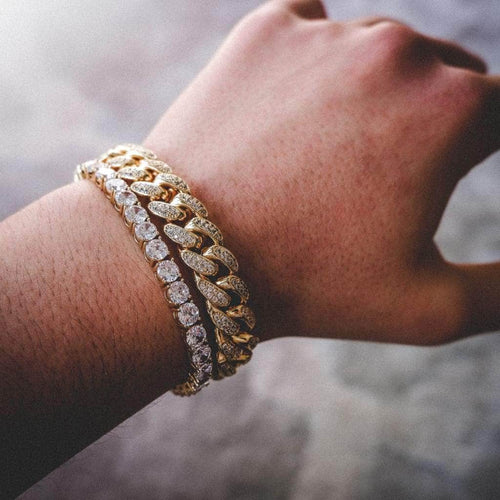12mm Yellow Gold Iced Cuban Bracelet