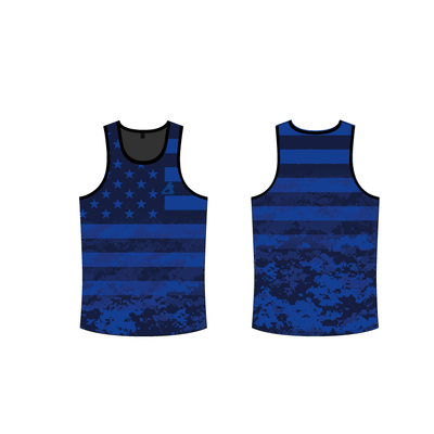 Digital Camo Tank Top-Blue
