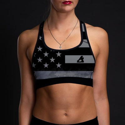 Digital Camo Women's Uniform Sports Bra-Grey