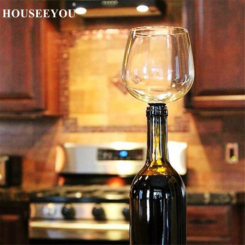 HOUSEEYOU Creative Red Wine Champagne Glass Cup with Silicone Seal Drink Directly from Bottle Crystal Glasses Cocktail Mug 260ML
