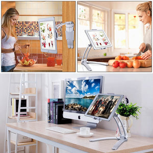 XMXCZKJ Kitchen Tablet Stand Wall Desk Tablet Mount Stand Fit For 5-10.5 inch Width Tablet  Metal Bracket Smartphones Holders