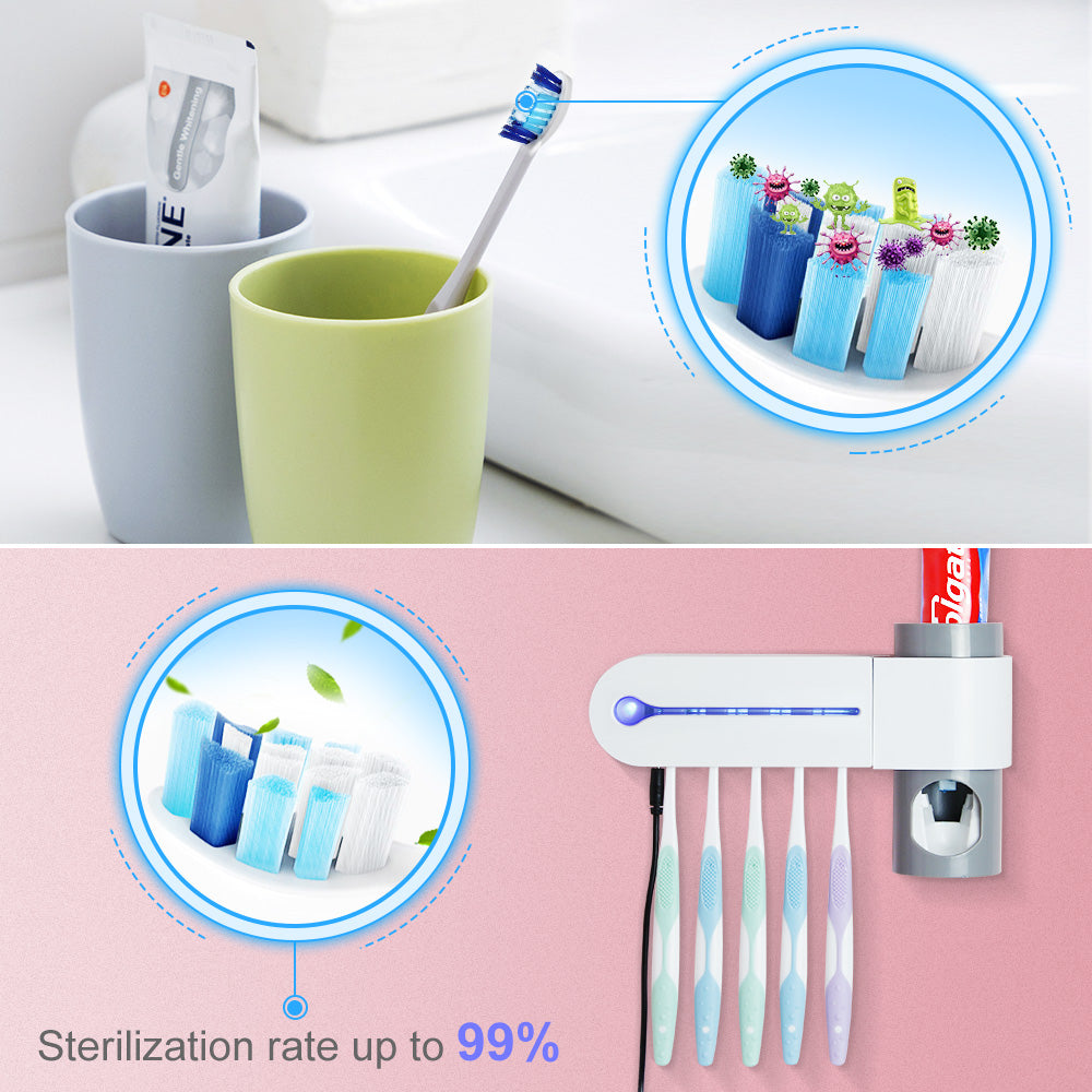 Support Dropshipping 2 in 1 UV Light Ultraviolet Toothbrush Sterilizer  Automatic Toothpaste Dispenser Toothbrush Holder Home