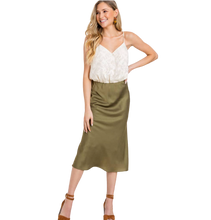 Load image into Gallery viewer, SATIN MIDI SKIRT