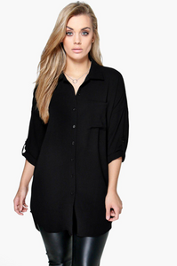 CHARLIE BUTTON TUNIC // CURVY // 2 COLORS