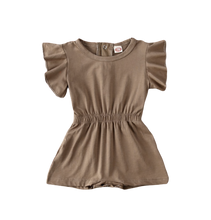 Load image into Gallery viewer, Avery Ruffle Sleeve Romper // Brown