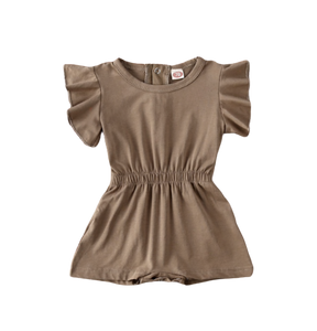 Avery Ruffle Sleeve Romper // Brown