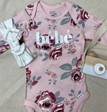 "Load image into Gallery viewer, FLORAL ORGANIC ""BEBE"" ONESIE"