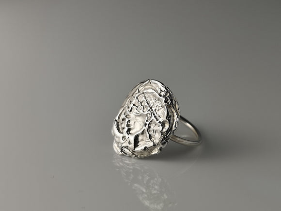Greek Silver coin ring