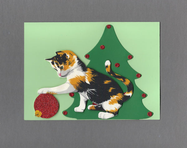 Handmade Fabric Calico Cat Playing with Ornament Blank Christmas Greeting Card