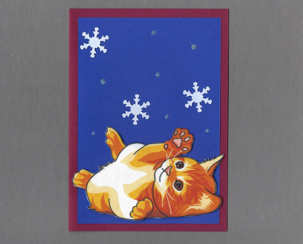 Handmade Fabric Orange Tabby Cat Playing with Snowflakes Blank Christmas Greeting Card