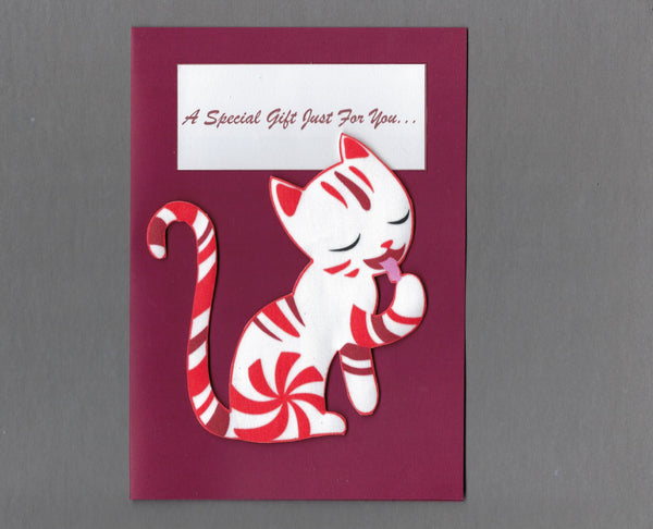 Handmade Fabric Peppermint Cat Blank Christmas Greeting Card