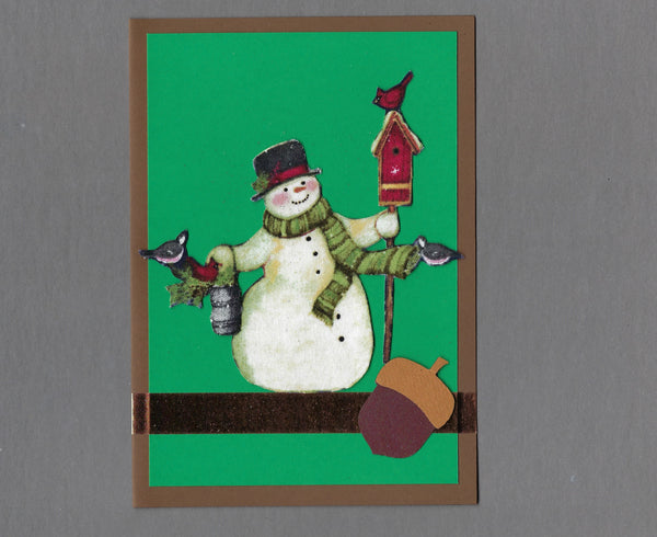 Handmade Fabric Woodland Acorn Snowman Christmas Holiday Blank Greeting Card