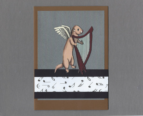 Handmade Fabric Angel Ferret Harp Player Ferret Blank Greeting Card