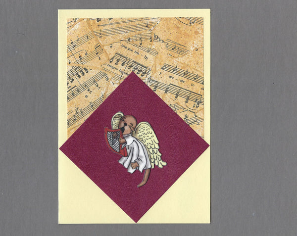Handmade Fabric Angel Ferret Harp Playing and Singing Ferret Blank Greeting Card