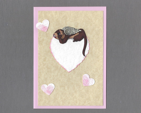 Handmade Fabric Angel Ferret with Hearts Ferret Blank Greeting Card