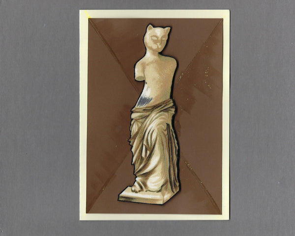 Handmade Fabric Art Cats Venus de Meowlo Cat Blank Greeting Card