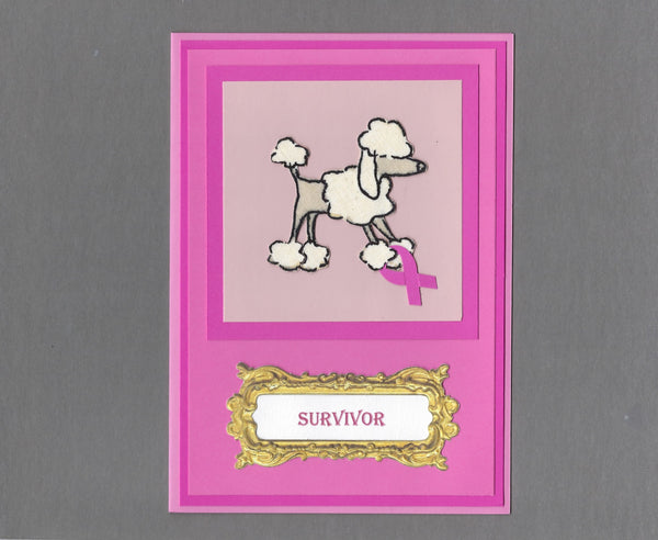 Handmade Fabric Breast Cancer Survivor Poodle Dog Blank Greeting Card