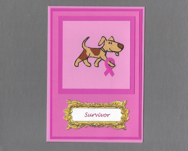 Handmade Fabric Breast Cancer Survivor Spotted Dog Blank Greeting Card