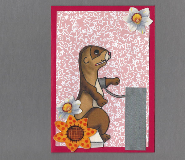 Handmade Fabric Ferret Blood Pressure Check Get Well Blank Greeting Card