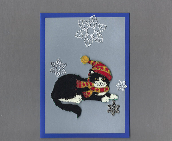 Handmade Fabric Black and White Snowflake Cat Christmas Blank Greeting Card