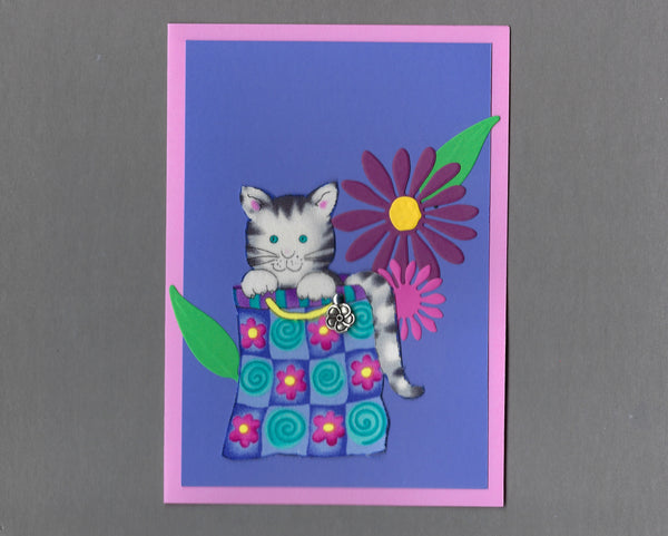 Handmade Fabric Bag Cats Flower Bag Cat Blank Greeting Card