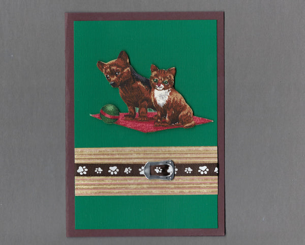 Handmade Fabric Best Friends Waiting to Play Ball Cat & Dog Blank Greeting Card