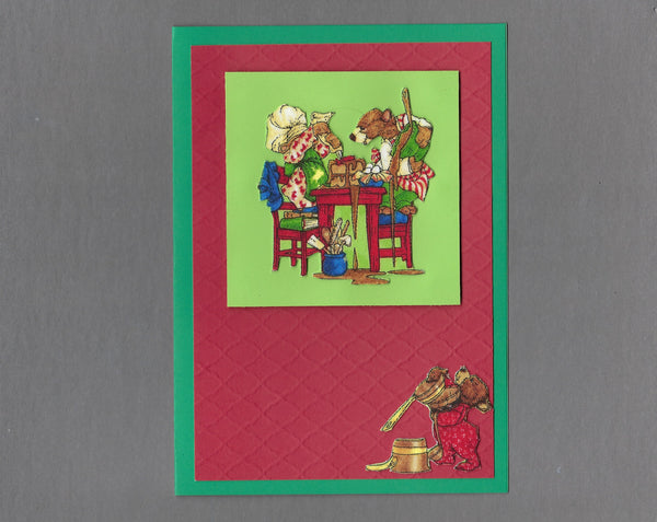 Handmade Fabric Bear Family Baking Mess Christmas Blank Greeting Card