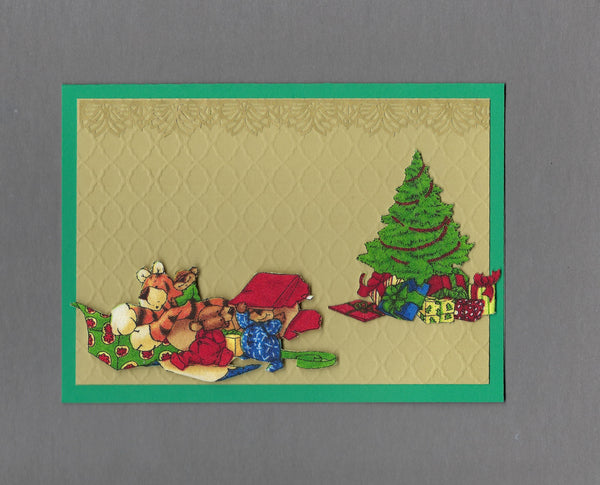 Handmade Fabric Bear Family Box Fun Christmas Blank Greeting Card