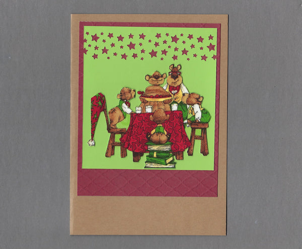 Handmade Fabric Bear Family Dinner Time Christmas Blank Greeting Card