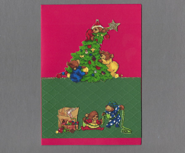 Handmade Fabric Bear Family Tree Decorating Christmas Blank Greeting Card